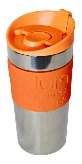 Jarro Térmico Bodum Travel Mug 350 Ml Color Naranja Y Acero