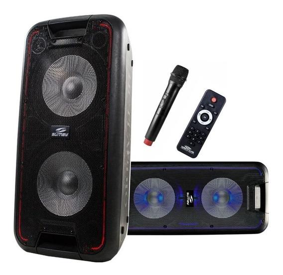 Caixa De Som Amplificada Profissional 600w, C/bluetooth, Bateria Recarregável E Microfone S/fio Sumay Bivolt