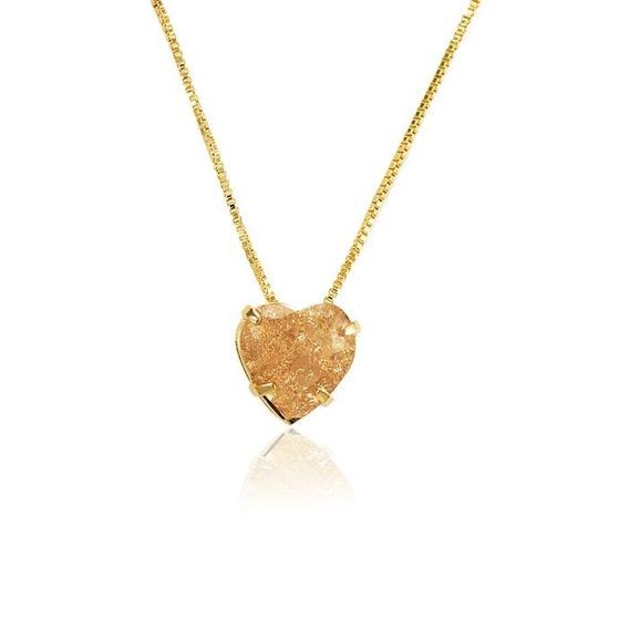 Gargantilha Colar Pingente Coração 15 Microns Ouro 18k
