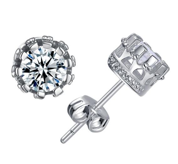 Brinco Pequeno Prata 925 Feminino Diamante Sintético 8mm