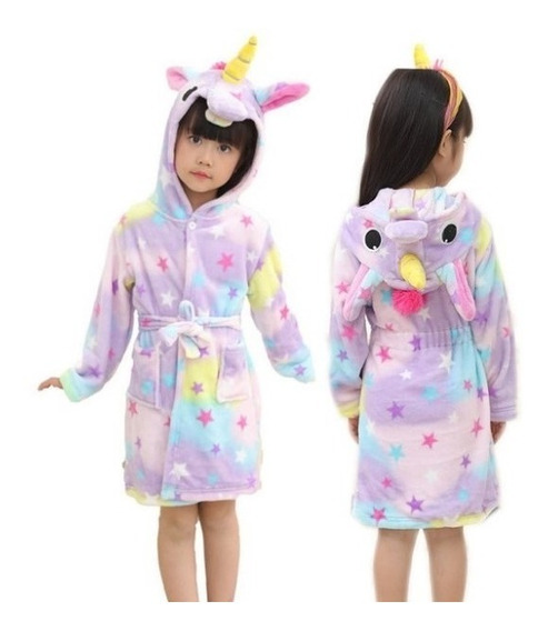 Bata Pijama Unicornio Kigurumi Baño Infantil Niña