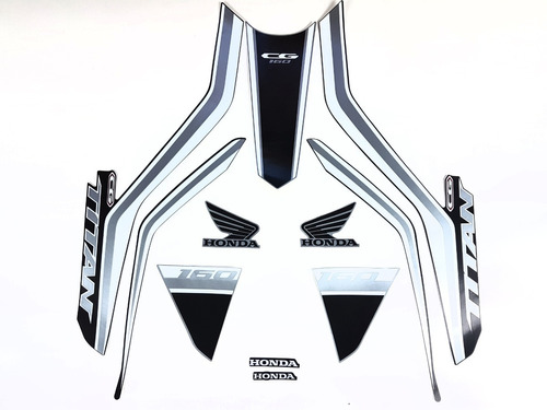 Kit Adesivo Titan 160 2019 Prata Faixas Adesivas Titan 160