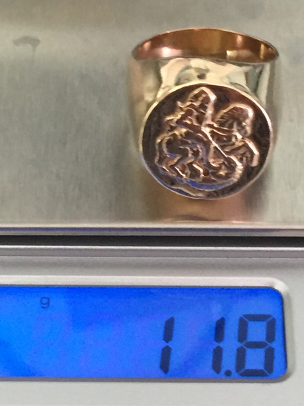 Anel Ouro 18k 750-11.8 Gr, Aro:20 Inscri. Cavaleiro Medieval