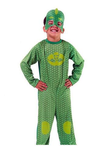 Disfraz Pj Mask Verde Gekko Héroes En Pijamas Con Antifaz