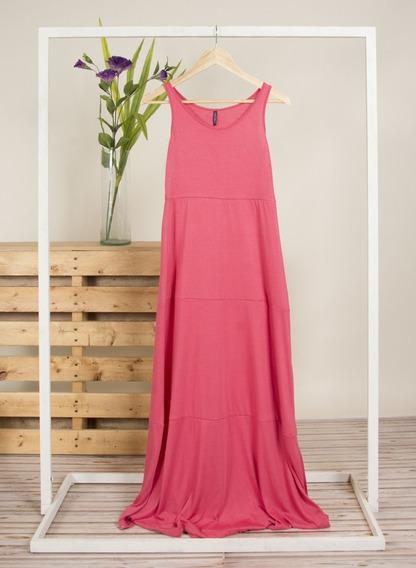 Vestido De Viscosa C/recorte Horizontal