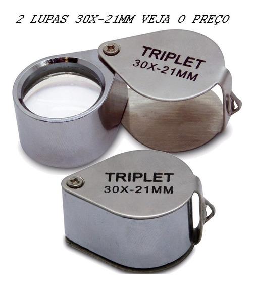 2 Lupa 30x-21mm Ourives Profissional Aumentar Campo De Visão