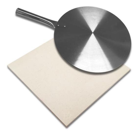 Pedra Refratária Para Pizza 30 X 30 Cm Com Pá De Alumínio