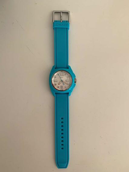 Relógio Dkny Azul Turquesa Seminovo Com Pulseira De Borracha