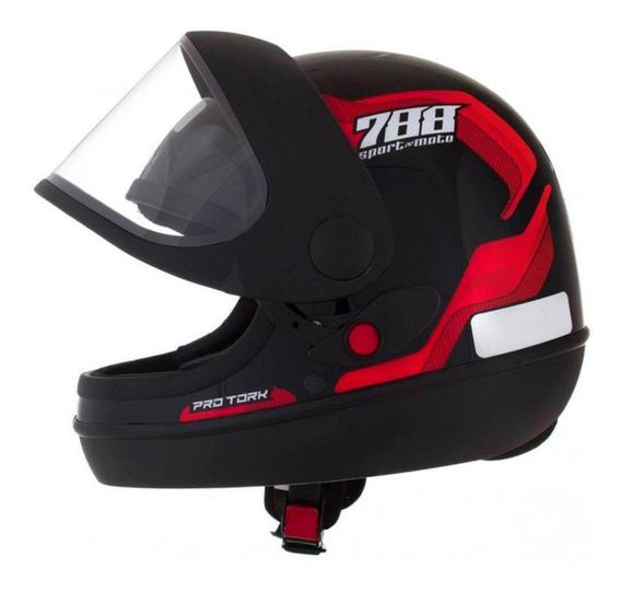 Capacete Sport Moto 788 Preto E Vermelho Tam 58 Pro Tork