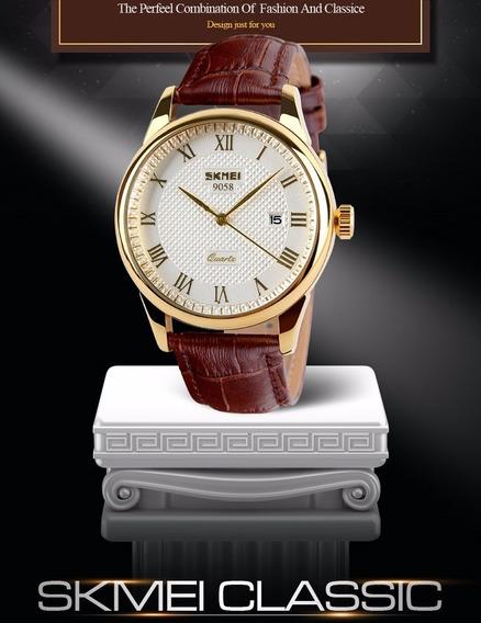 Relógio Skmei De Luxo Original Pulseira Couro Modelo N F