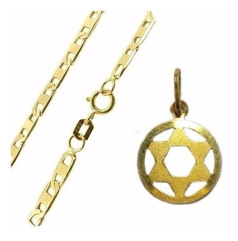 Cordão De Ouro 18k Masculino E Pingente Estrela Davi