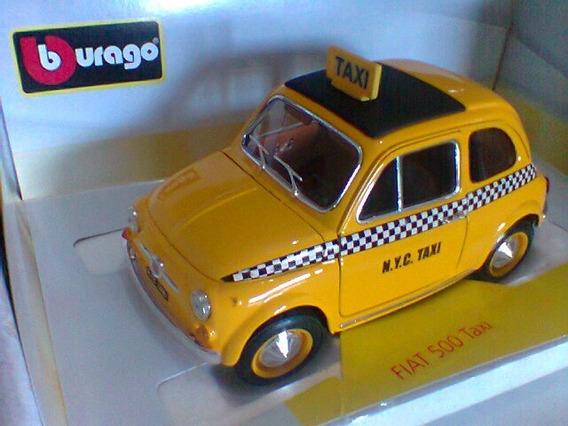 Miniatura 1/18 Burago Fiat 500 Taxi N.y.c.na Caixa