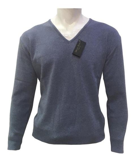 Suéter Azul Mezclilla Cuello V Hombre