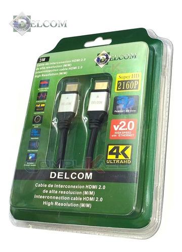 Cable Hdmi 2.0 De 3 Metros Delcom Ultra Hd 4k 3d Audio Video
