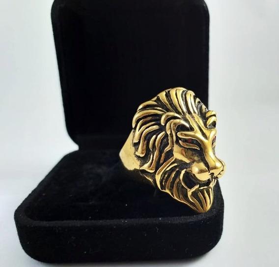 Anel Leão Aço Inox Dourado Lion Promoção Simba