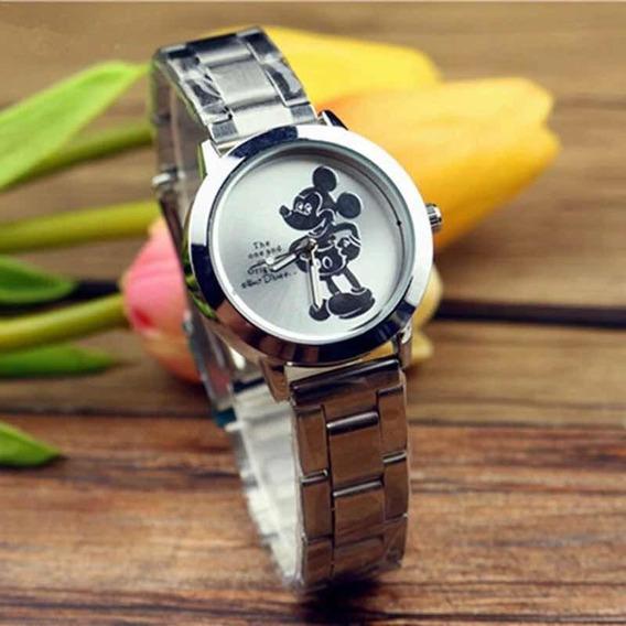 Relógio Mickey Mouse De Aço Em Quartzo
