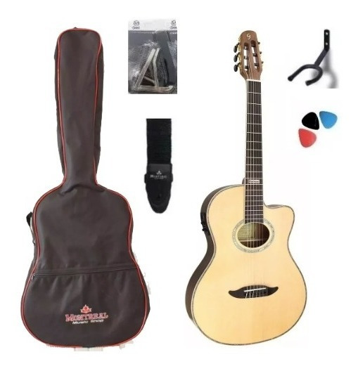 Kit Violão Flat Cutaway Nylon Gnf3 Ceq Ns Natural Satin + Nf