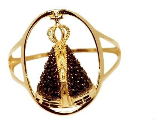 Anel Nossa Senhora Ouro 18k Zircônias - Código 2497