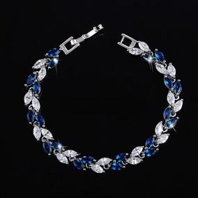 Pulseira Feminina Prata 925 Azul Com Pedra Zircônia Charme