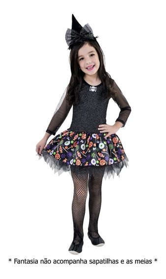 Vestido Infantil Bruxinha Fantasia Halloween Com Chapéu