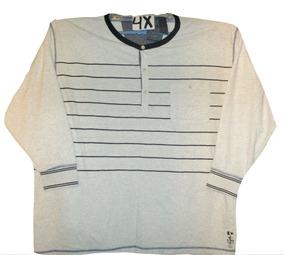 Camiseta Crema Rayas Gris Manga Larga Talla 4x Nautica