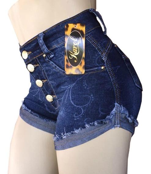 Short Jeans Feminino Levanta Bumbum Cós Alto Hot Pants