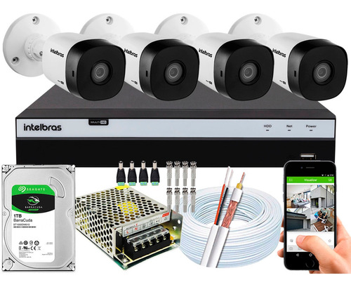 Kit 4 Cameras Hdcvi Alta Definição Dvr Intelbras 3104 G4 1tb