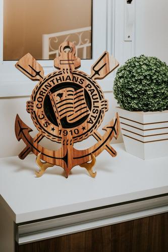 Imagem 1 de 7 de Simbolo Do Corinthians Entalhado Em Madeira Nobre E Maciça