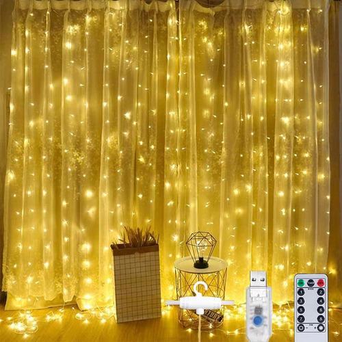 Cortinas Decorativas Luces Led Control Remoto 3x3m 8 Modos