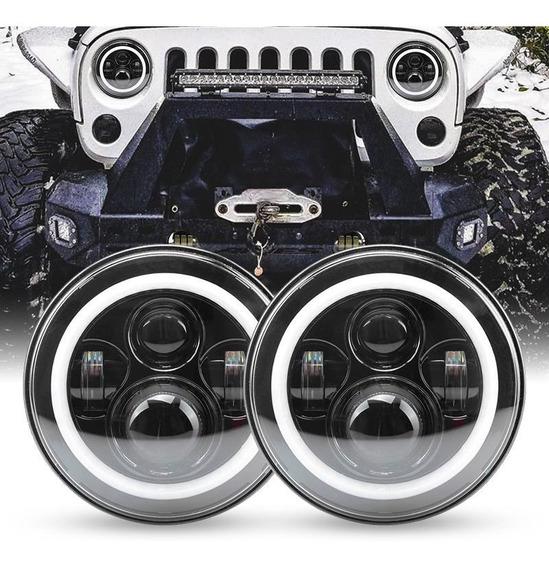 Par Opticas Delanteras Led Rgb Jeep Wrangler 7 Triple Fila
