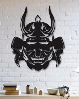 Quadro Decorativo Parede Placa Máscara Samurai 90cm