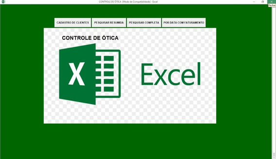 Planilha Sistema De Controle De Ótica Em Excel