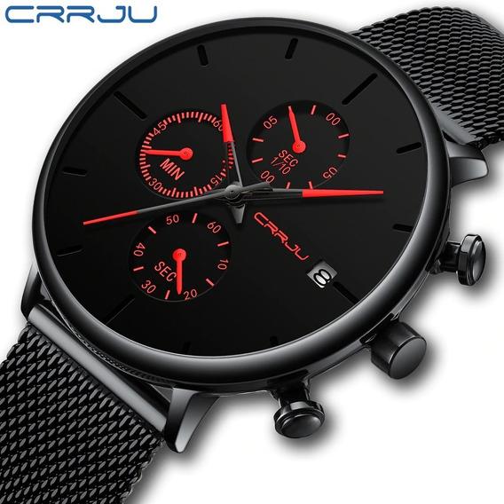 Relógio Crrju 2268 Luxo Calendário Cronógrafo Pronta Entrega