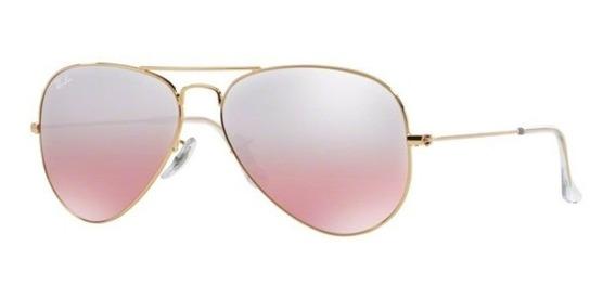 Oculos Sol Ray Ban Aviador Rb3025 001 3e 62mm Rosa Degradê