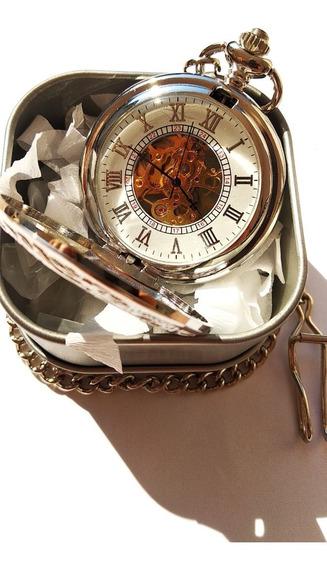 Reloj De Bolsillo Tipo Vintage Plata Mecanico De Cuerda 19