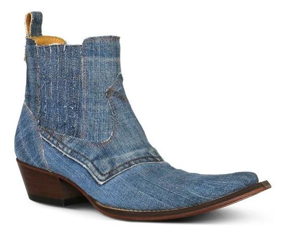 Botina Country Bq Tecido Jeans Masculina Silverado Azul Jean