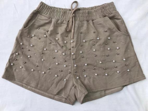 Shorts Feminino C/ Pérolas Laco Amarrado Cintura Alta Verao