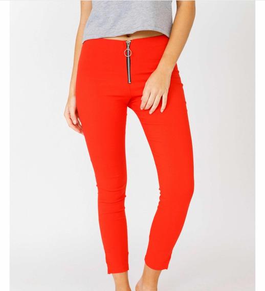Pantalón De Bengalina Con Crepe Rojo