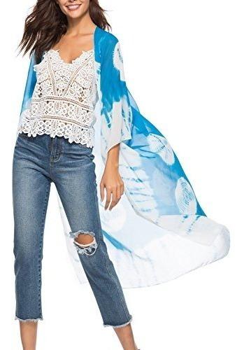 Chunoy Kimono De Gasa Para Mujer, Casual, Floral, Ligero, T