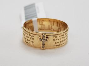 Anel Ouro 18k Oração Pai Nosso Crucifixo Zircônias Aro Largo