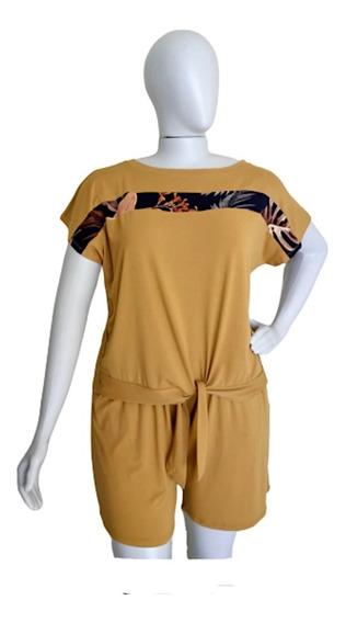 Conjunto Blusa Feminina E Short Modelo Plus Size Tamanho G2