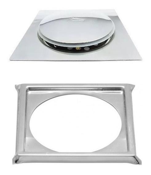 2 Ralos Click Inteligente Em Inox 10x10 Cm + 2 Porta Grelhas