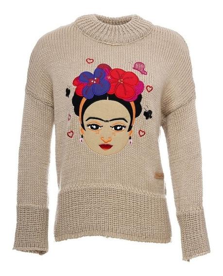Sweater Original Frida Kahlo Fks Beige