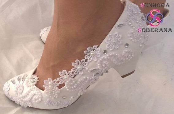 Sapato Branco Trabalhado (formandas) (noivas) (réveillon)