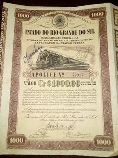 Apolice Do Rio Grande Do Sul 1950
