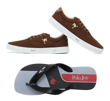 Kit Tênis Sapatênis Polo Joy Casual Masculino + Chinelo
