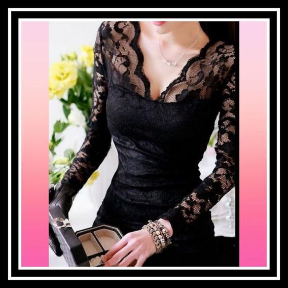 Vestido Largo De Encaje Negro Para Fiesta