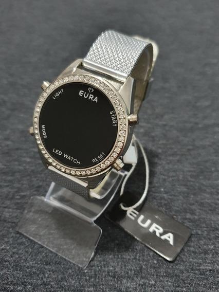 Relógio Prata Digital/led Feminino Original Eura Presente