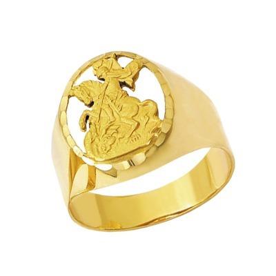 Anel São Jorge Recortado Em Ouro 18 Kilates