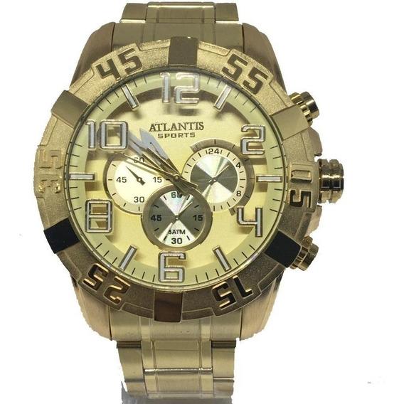 Relógio Masculino Atlantis A3361 Dourado Luxo Grande